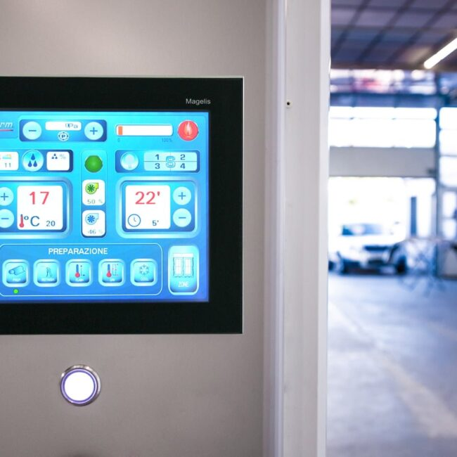 Blowtherm Digital Touch Screen Controller. Programmable Logic Controls (PLC) for Preparation Paint Booth and Paint Preparation Areas