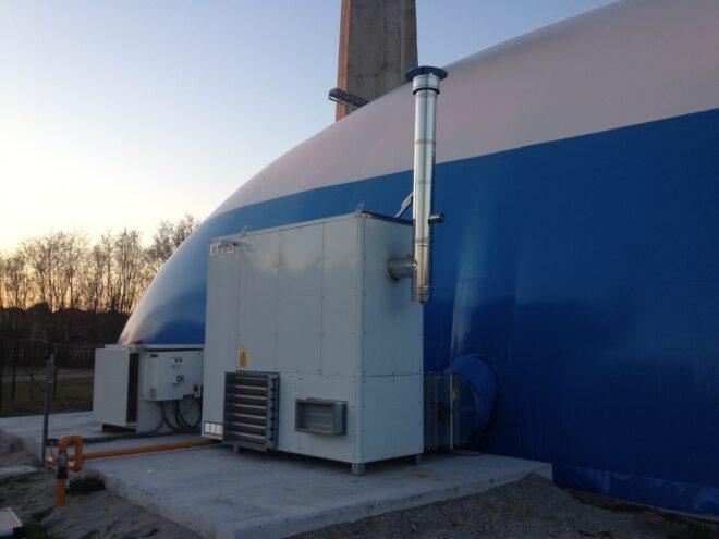 Generatore d'aria calda per pressostruttura con gruppo di emergenza